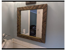 Rustic Wall Mirror Accent Vanity Wood Bath Square Shabby Chic Country Distressed