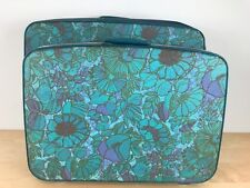 Vintage 60s Set 2 Samsonite Travel Luggage Teal Aqua Floral Suit Case Mod