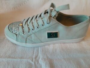 Guess Womens Ladies Suede Glitter Sparkle Tennis ShoesSize 8.5 Mint Green
