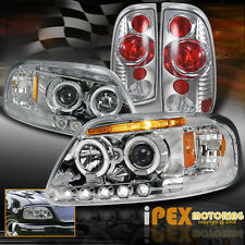 1997-2003 Ford F150 F-150 Twin Halo Projector LED Headlight + Tail Lights Chrome