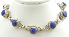 Handmade Vintage 925 Sterling Silver Bracelet with 6mm Genuine Lapis Lazuli