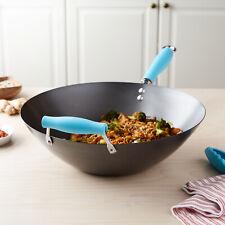 14 Non-Stick Blue Cooking Wok w/ Helper Handle Carbon Steel Induction Safe