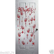 HALLOWEEN Decoration Prop DOOR Wall Cover Mural BEWARE BLOODY HANDPRINTS