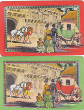 #89 2 (pair) vintage single playing swap cards - Horses & Carriage Scene  - JS