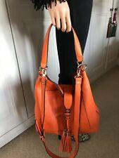 River Island Orange Slouch Handbag Gold Metal Fitting Tassel Detachable Strap