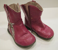 Faded Glory Infant toddler Boots Girls size 6 Bright Pink Sparkle Star #2562