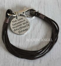 'The Love Between A Mother & Daughter' Leather Bracelet Ladies Mums Gift Brown