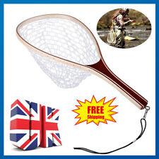 Wooden Handmade Rubber Fly Fishing trout/salmon Landing Net, Coarse fishing