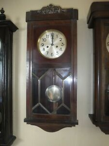 German Wall Clock  Striking Movement  with Nice Solid Wood Case