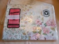 VINTAGE NEW PACK BRENTFORDS PILLOWCASE CREAM FLORAL POLYCOTTON PINK FLOWERS OLD
