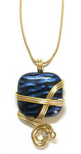 Unique Jewelry - Wire Wrapped Hand Crafted Artisan Fused Glass Pendant Necklace