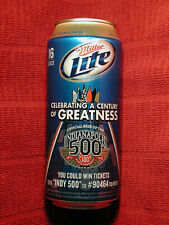 Miller Lite Commemorative Beer Can,Indy-500, 100th Anniversary, Mt, Near Mint