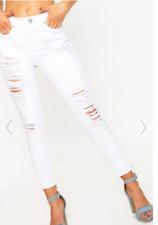 Women's White Extreme Bum Rip Distressed Skinny Slim Jeans Size US 2 NWT
