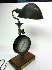 Unique Steampunk Art Lamp, Wood Base, Brass Gauge, Brass Hubbell Parabolic Shade