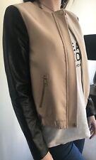 H&M jacket blazer size 6 UK faux leather sleeves black nude (not Topshop)