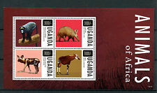 Uganda 2013 MNH Animals of Africa 4v M/S Wild Dogs Monkeys Aardvark Okapi Stamps