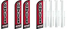 Computer Repair Windless Flag With Complete Hybrid Pole set- 4 pack