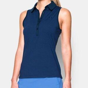 NWT Under Armour Womens Zinger Sleeveless Stripe Royal Golf Polo Shirt sz XS