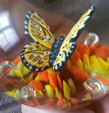 MINTY VINTAGE 1976 MAUDE & BOB ST CLAIR ART GLASS SULPHIDE BUTTERFLY PAPERWEIGHT
