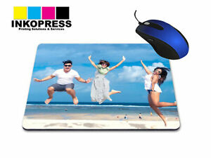 Personalised mouse mat photo  custom image any text Gift 3mm Thick RECTANGLE UK