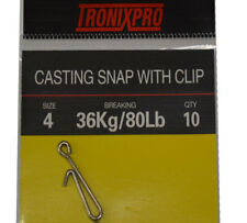 Tronixpro Casting Snap With Clip  Sea Fishing Terminal Tackle Rig Clips Size 4