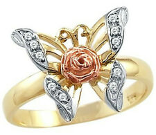 Flower Cz Cubic Zirconia Ring Size 9 14K Yellow Rose Two Tone Gold Butterfly