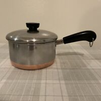 Revere Ware 1 1/2 Quart Fry Pan Sauce Pan Pot With Lid Copper Bottom Clinton ILL