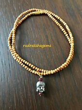 White Sandal wood Buddhist Amitabha Buddha Lucky Amulet Pendant Beads Necklace
