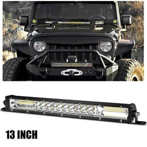 13in Slim LED Work Light Bar Dual Row Offroad Spot Flood Combo Fog SUV Truck ATV