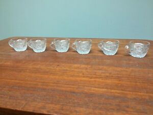 Set 6 EAPG Miniature Cambridge Wheat Sheaf Punch Cups Doll Tea Set
