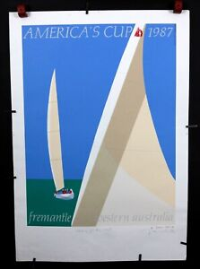 WINNING BACK AMERICA/'S CUP America/'s Cup poster signed by the artist 1987