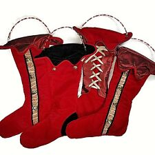 Harlequin Christmas Stockings lot of 4 Burgundy Corset Stripe Luxury bead handle