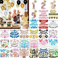 Happy Birthday Party Balloons Bunting Banner Hanging Garland Home Decoration Set