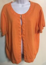 Chadwicks Orange Beaded Short Sleeve Sweater Size XL