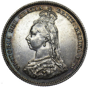 1887 SHILLING - VICTORIA BRITISH SILVER COIN - NICE