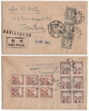 CHINA-Manchukuo-RARE-26/3/1946-First Ovpt Stamps-Reg Airmail Cover to TIENTSIN