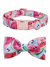 Cotton Fabric Dog Collar Leash Bow Tie Metal Buckle Pet Puppy Rose Necklace Set