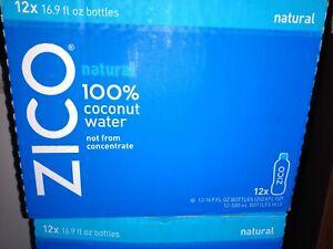 ZICO - Natural 100% Coconut Water - 12 Bottles - 16.9 FL OZ. EXP 4-28-21