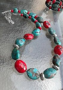 HUGE TURQUOISE AND CORAL STONES STERLING SILVER SOUTHWEST STYLE NECKLACE 18-20in