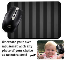 Dark Grey Black Striped Patterned Computer Mousemat Mouse Mat Pad Stripes D742