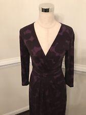 Boden Women's UK 10L US 6L Maxi Dress Purple Brown Floral Print NWOT 3/4 Sleeve