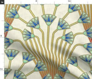 Flowers Light Art Deco Flower Egyptian Vintage Spoonflower Fabric by the Yard