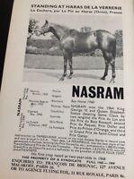 L1-3 Ephemera 1968 Advert Horse Racing Hasram Haras De La Verrerie