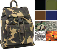 Canvas Military Day Pack Camo Backpack Army Knapsack Rucksack Work School Bag