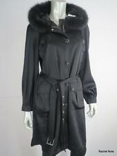 NWT $1895 ST JOHN COUTURE S Fox Fur Long Black Satin Jewel Evening Coat Hood NEW