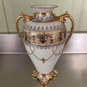 Antique Nippon Moriage Floral  Vase 9 1/4''Gold Royal Design