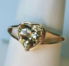 Natural Csarite 10K Yellow Gold Ring , 1.30Ct, Heart shape, Size 7, Certificate