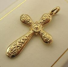 LARGE GENUINE SOLID 9K 9ct YELLOW GOLD CELTIC KELTIC CROSS PENDANT