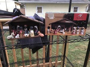 12 Piece Nativity Set African American 1 Piece Damaged Complete With Box Ceramic