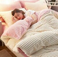 Cute Flannel Bedding Set Duvet Cover Bed Sheet Sets Winter Warm 4pcs Solid sets